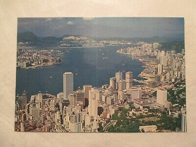 Birds eye View Victoria Harbour Hong Kong China Continental Sized Postcard