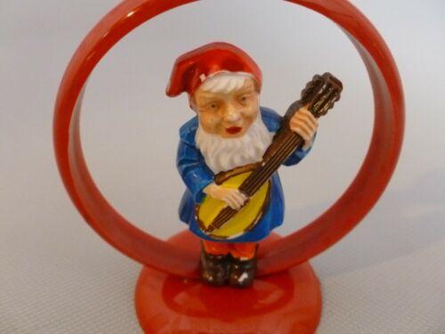 Vintage German Plastic Musical Gnome Christmas Candlestick Playing Mandolin?