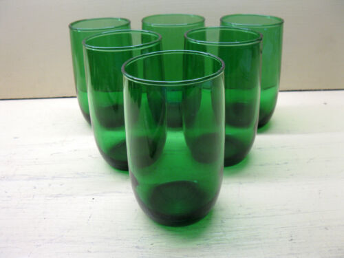 Vintage Anchor Hocking FOREST GREEN Roly Poly 8 oz. Flat Tumblers Set of 6