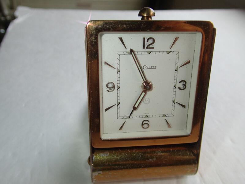 Lecoultre Vintage 8-Day Folding Brass Travel/Desk Alarm Clock