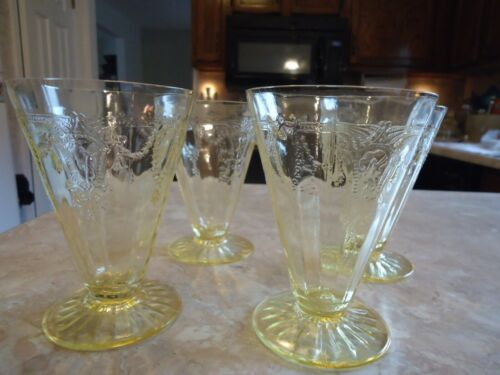 """Set of 4 Yellow Cameo 5"""" 9 oz. Footed Tumblers"""