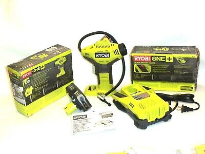 Ryobi P737 Inflator Air Compressor Set P107 Lithium Battery And P117 Charger