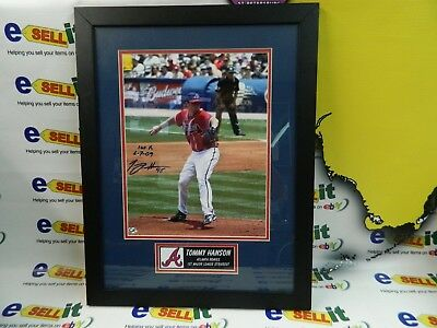 "ATLANTA BRAVES  TOMMY HANSON ""1st STRIKE OUT"" AUTOGRAPHED FRAMED PICTURE"