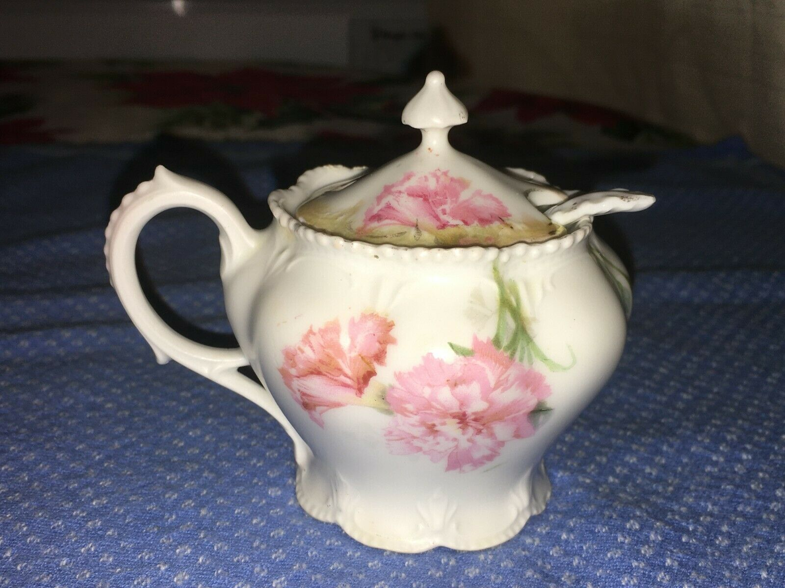R S Prussia Antique Pink Jam Mustard Pot Jar W Porcelain Spoon RED STAR Mark - $29.99