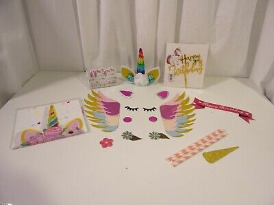 Unicorn Rainbow Cake Topper, Wings, Acrylic Happy Birthday Candles Table Cover