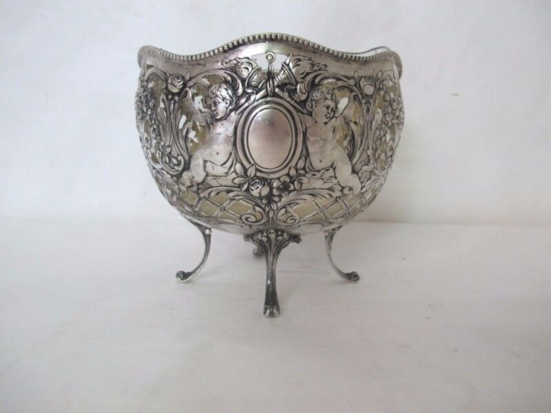 ORNATE HANAU STERLING SILVER (.800) BOWL WITH ANGELS AND GLASS LINING
