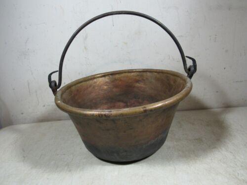 Antique Handmade Hand Wrought Hammered Hanging Copper Pot Cauldron W/Handle