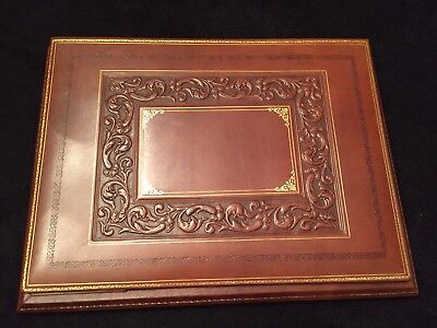 Luxury Bontrupe Carved Genuine Leather 24k Gold Gilded Flip Top Desk Blotter Pad