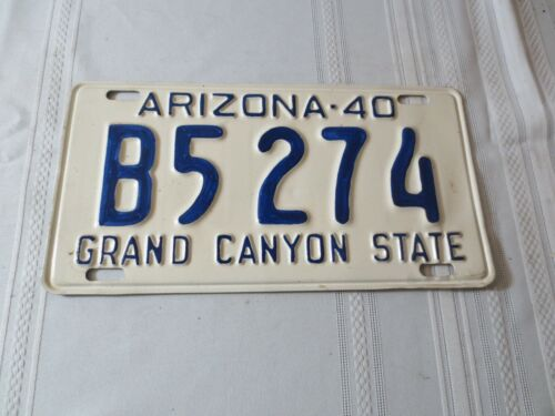 1940 ARIZONA RESTORED LICENSE PLATE B5274