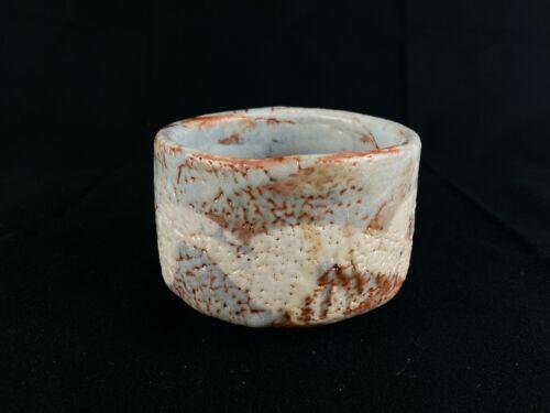 Japanese Antique Tea Ceremony Nezumi Shino CHAWAN bowl (b456)