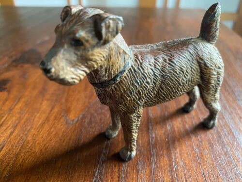 Antique Painted Lead Metal Irish Terrier Dog Figurine