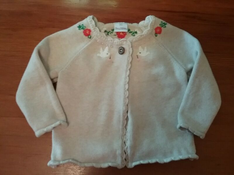 Hanna Andersson Sweater Beige Cotton Cardigan Embroidered Flowers Birds, 85, 2t