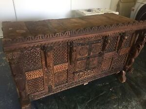Antique 19th Century Indian Chest Benowa Gold Coast City Preview