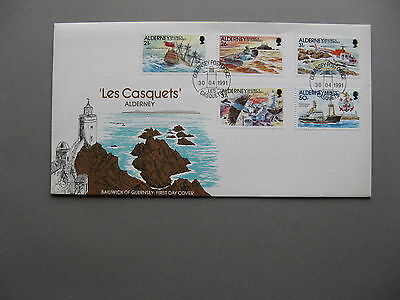 UK GEURNSEY ALDERNEY, cover FDC 1991, Les Casquets, lighthouse helicopter ship