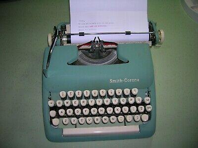 Vintage '63 Smith Corona Sterling 5A Typewriter w Case & Key Seafoam Green WORKS