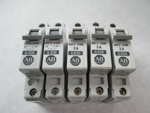 Lot of 5 Allen Bradley 1492-CB1G030 Circuit Breakers (3 Amp, 1 Pole, 277 Volt)