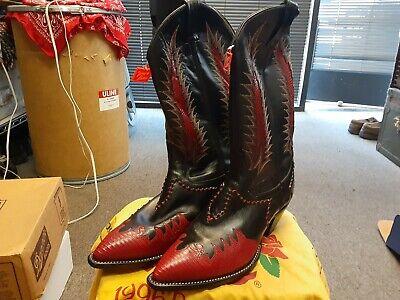NOS NIB Deadstock Tony Lama 6853 Firewalker Western Cowboy Boots Red Black 10 D