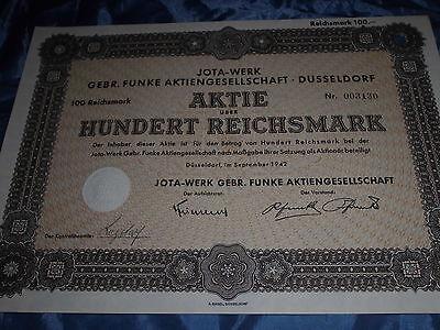 848 :deutsche Aktie / Wertpapier ,September 1942 , JOTA Werk Düsseldorf , 100 RM