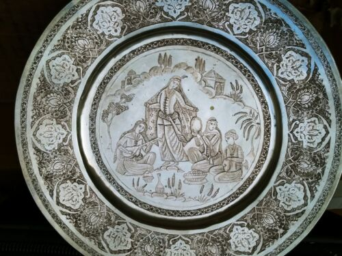 PERShIAN ART EXHIBITION, ANTIQUE SOLID SILVER ROUND TRAY DISH PICTORIAL
