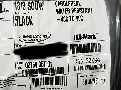 Carol 02769 183c Carolprene Soow 600v 90c Portable Power Cable Cord Black50ft