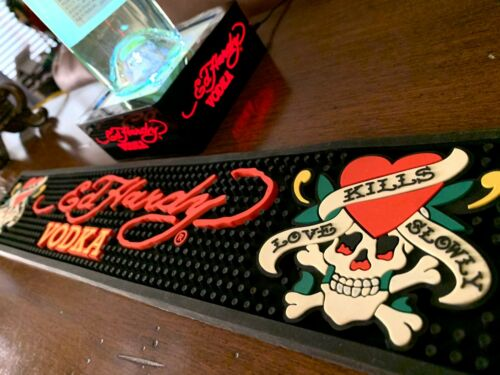 **ED HARDY** BEVERAGE BAR COCKTAIL SPILL SHOT RUBBER MAT & LED BOTTLE DISPLAY