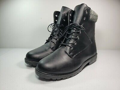 Rue 21 ETC. Black Vegan Leather Lace Up Combat Boots Size 10M Lightweight VGC