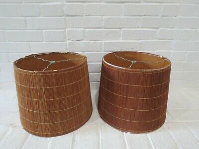 Vintage Straw Lamp Shades Pair Mid Century Modern Bamboo Style AS-IS Set of 2