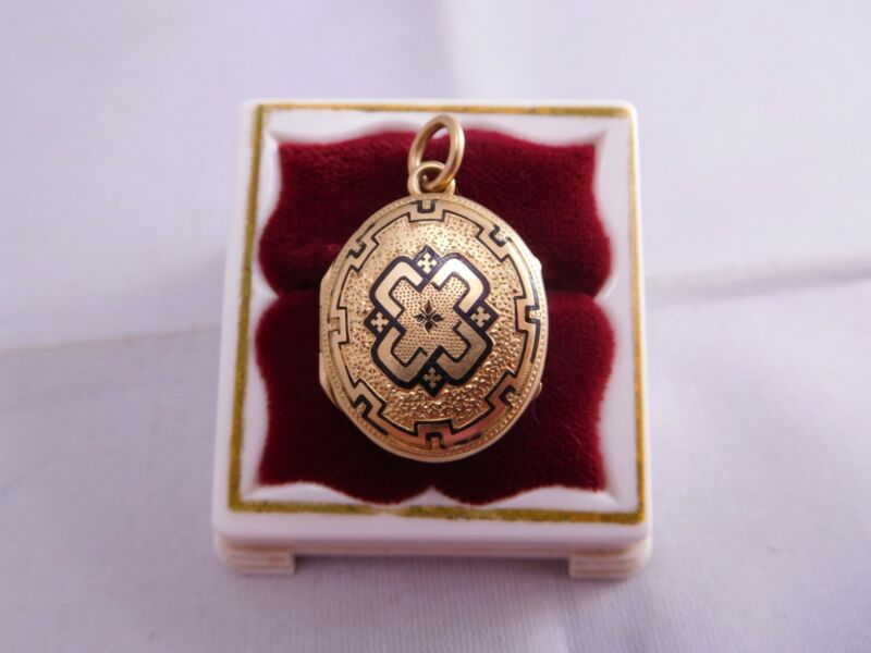 VICTORIAN MOURNING 14K SOLID YELLOW GOLD ENAMEL PHOTOGRAPH LOCKET PENDANT