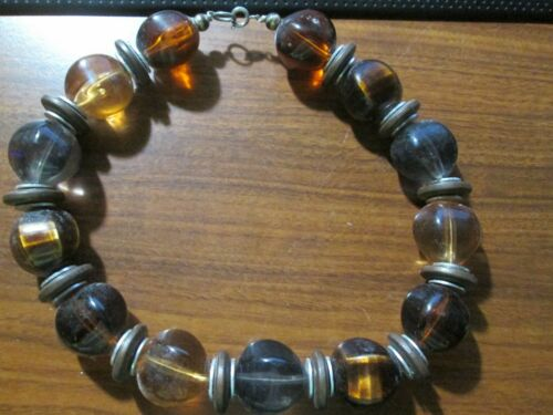 """Beaded choker necklace of  15.5"""" length . Nice weight Golden Tiger"""