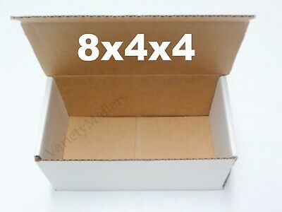 Eight White Boxes 8 X 4 X 4 Shipping Gift Storage Corrugated Cartons