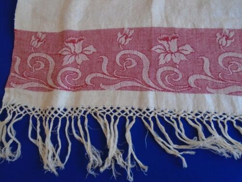 Antique Turkey Red Linen Fringed  Linen Towel Runner Daffodils Flowers pre 1900