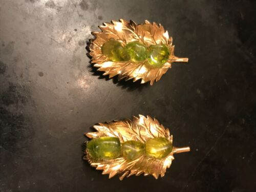 Faux Peridot and gold leaf clip earrings