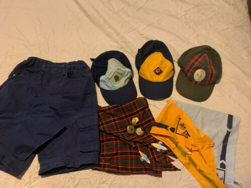 NICE LOT OF BOYS CUB SCOUTS BOY SCOUTS HATS SHORTS NECK TIE SCARVES