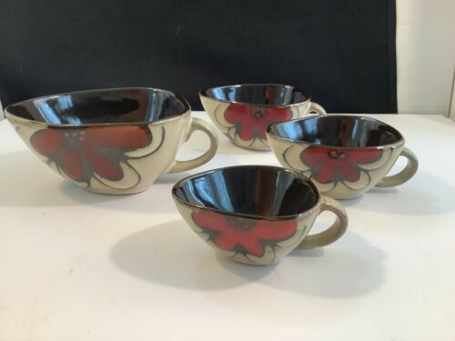 Set of 4 Decorative Measuring Cups Ceramic Pottery Red Floral