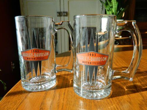 Pair of 1903 Harley-Davidson Motorcycles Glass Mugs