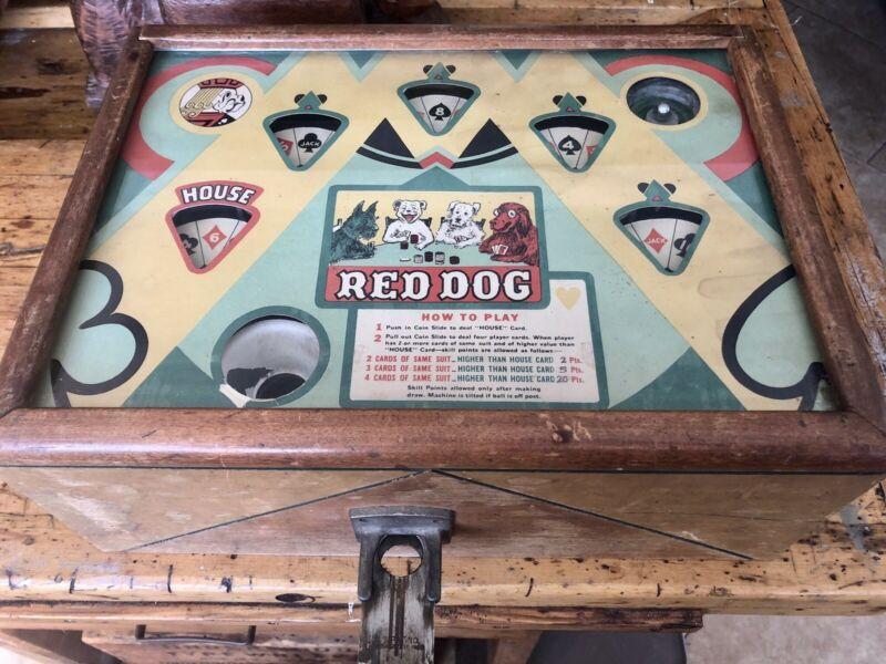 Esco 1937 Red Dog 5 Cent Counter Top Trade Stimulator, Poker