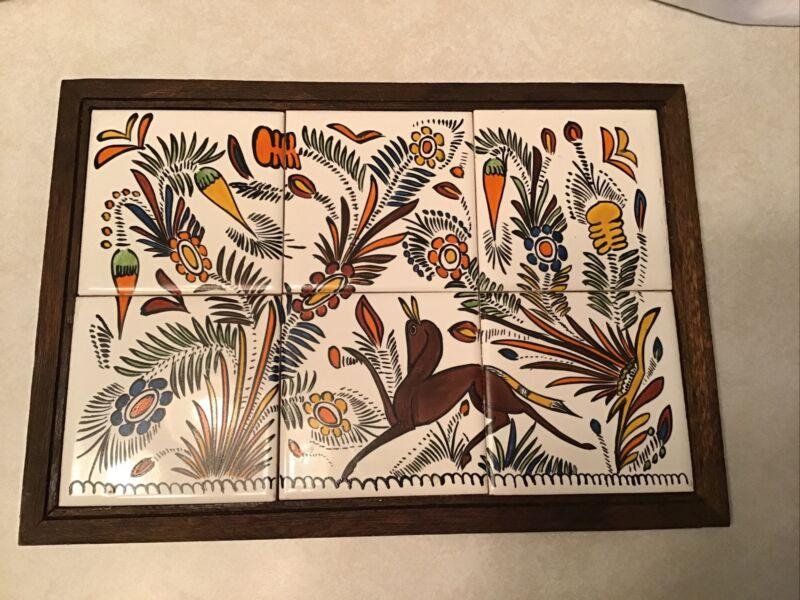 """Mid Century Hand Paint Framed Tiles Folk Art 10 1/8"""" X 14 3/8"""" Trivet"""