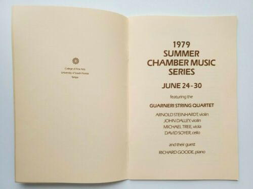 Univ South Florida College Fine Arts Summer Chamber Music 1979 Program Tampa FL