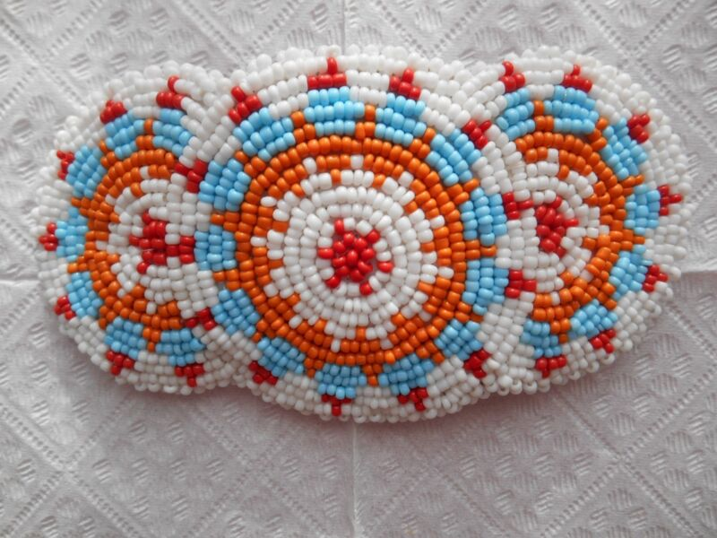 Native American style, seed beaded hairpin ( white, orange ,blue , red )