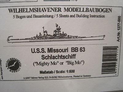 U.S.S. Missouri BB 63 Schiff 1:500  Wilhelmshavener Modellbaubogen Bastelbogen