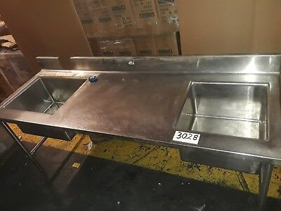 Stainless Steel Heavy Duty Commercial 2 Bowl Sinkwork Table 90l X 31d X 36h