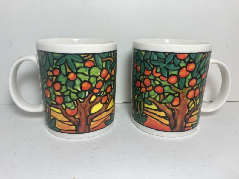 2 Chaleur L. Tiffany Inspired Orange Grove Stained Glass Design Coffee Cups