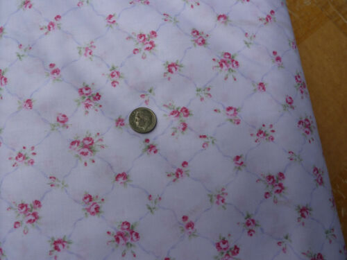 Yuwa Fabric Antique French Inspired Kate Trellis Raspberry Roses on Pink 1 yd.