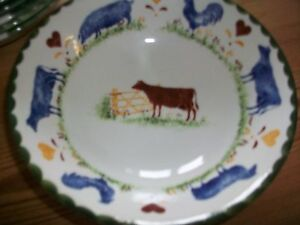 Wood and Sons Jacks Farm animals cereal bowls salad tea plates vgc