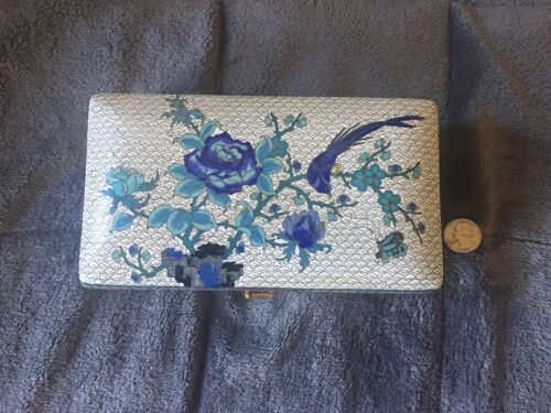 Large Stunning Antique Detailed Blue & White Cloisonne Floral Hinged Box