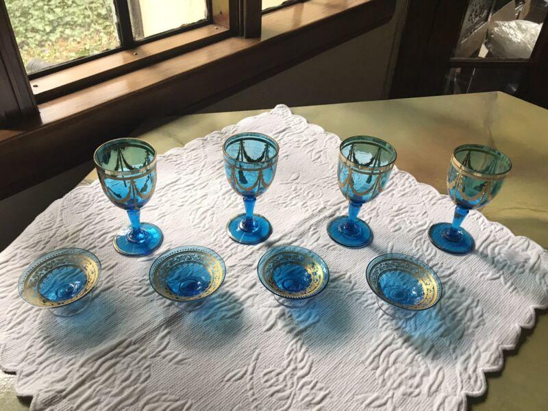 4 ANTIQUE WINE GOBLETS BLUE BOHEMIAN CZECH 4 OPEN SALTS  MOSER? JULIUS MUHLHAUS?
