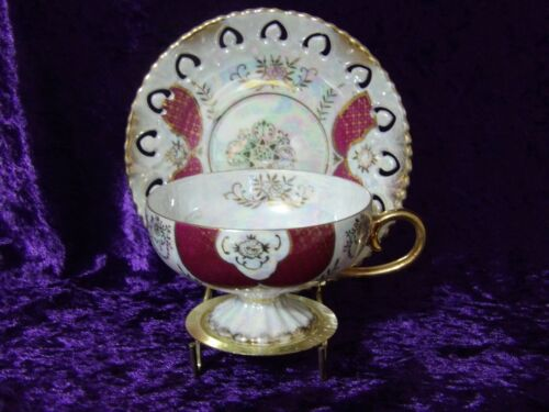 Royal Sealy Lusterware Red/Gold Footed Cup and Saucer