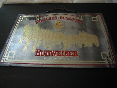 Vintage Original Budweiser Beer RARE Antique Mirror Sign - Over 50 years old!