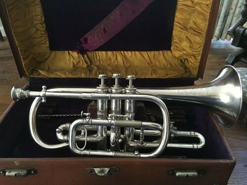 "C. G. CONN ""THE WONDER"" CORNET SILVER-PLATED"