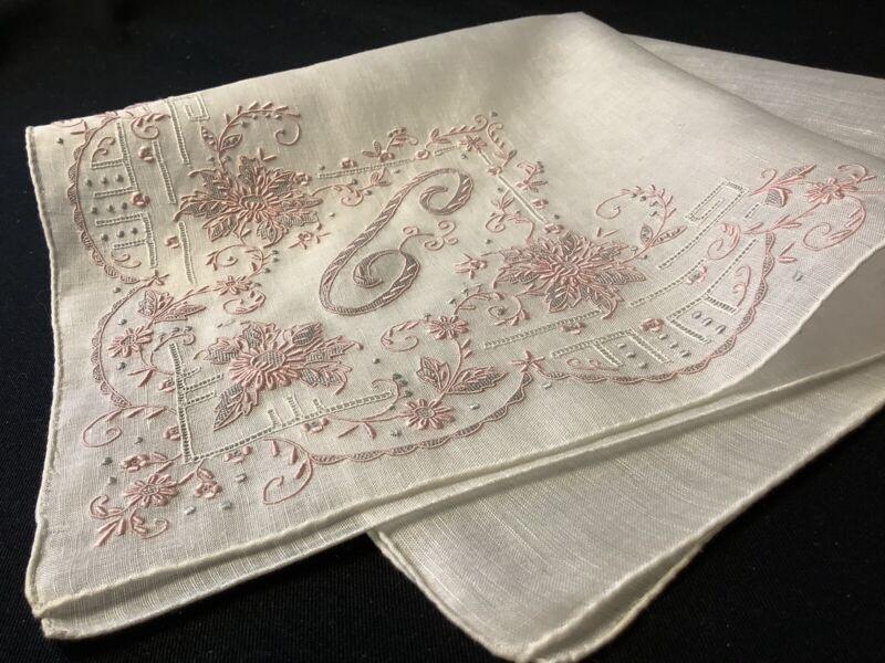 "#7616🌟MAGNIFICENT Vintage 40s Madeira Bridal Pink Monogram ""C"" Handkerchief"